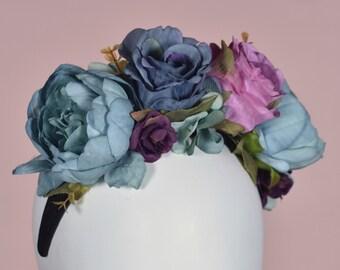 Sara Peony Flower Crown Headpiece in Blue and Purple
