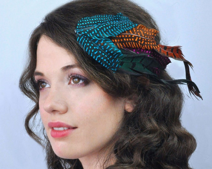 Twisted Feather Fascinator Hair Clip in Bright Turquoise Blue and Orange