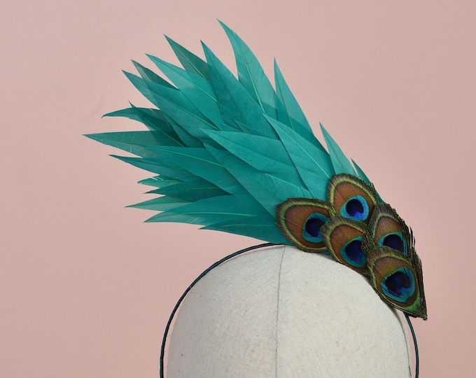 Sculptural Teal Feather Headband with Peacock Eyes