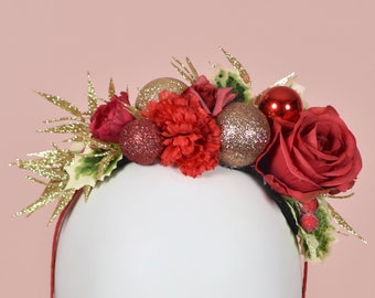 Festive Half Flower Crown Christmas Headband in Red and Gold