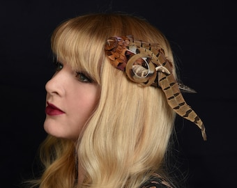 Curled Pheasant Feather Hair Clip Fascinator