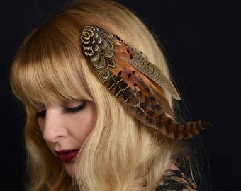 Feather Hair Clip Fascinator in Natural Mixed Pheasant Feathers