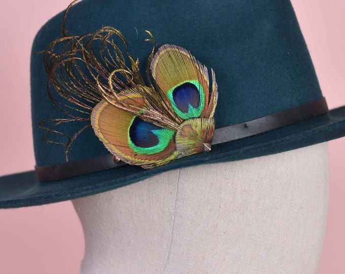 Peacock Eye Clip on Feather Hat Pin No.179