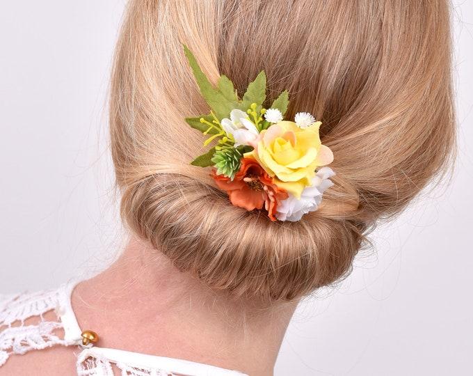 Yellow, Orange and White Flower Hair Clip