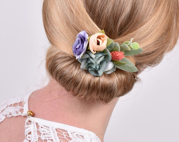 Silk and Dried Flower Hair Clip in  Blue and Blush Pink
