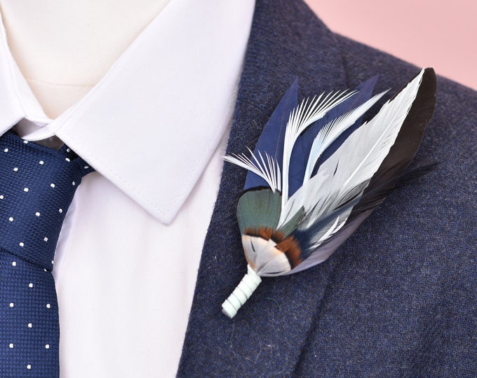 Navy and Pastel Blue Feather Lapel Pin No.104