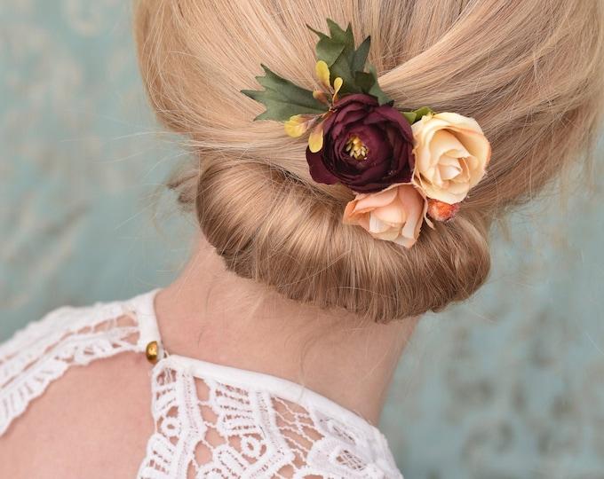 Silk Flower Hair Clip in Burgundy, Orange and Peach