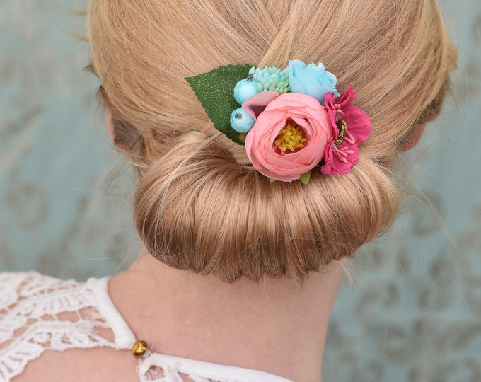 Silk Flower Hair Clip in Pink and Blue Roses and Ranunculus