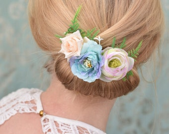 Flower Hair Clip in Pastel Pink and Blue Roses and Ranunculus