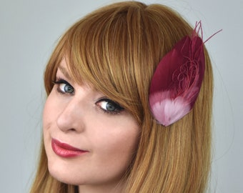 Feather Hair Clip in Crimson Red and Pink