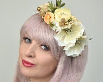 Ivory, Blush Pink and Gold  Bridal Flower Crown Headpiece
