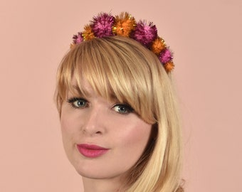 Tinsel Pom Pom Headband in Gold and Pink