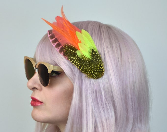 Yellow and Orange Feather Fascinator