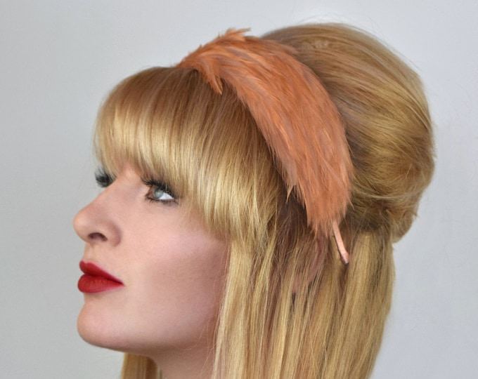 Feather Headband in Salmon Pink