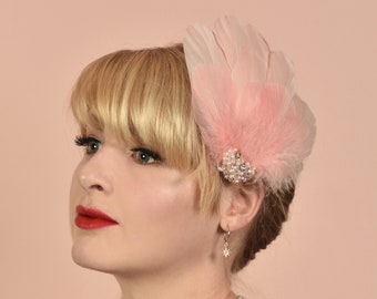 Vintage Pink Feather Headpiece with Pearl and Rhinestone Embellishment