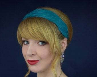 Feather Headband in Teal