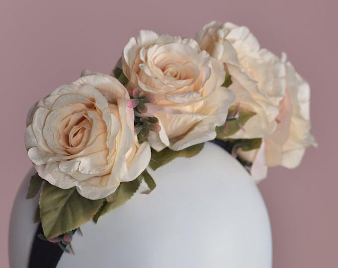 Adele Peach Rose Flower Crown Headpiece