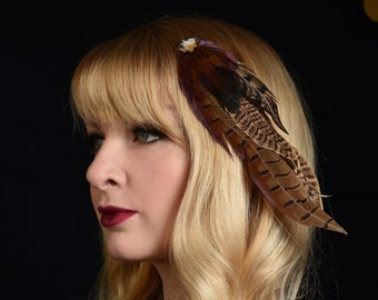 Feather Hair Clip Fascinator in Copper Pheasant Feathers