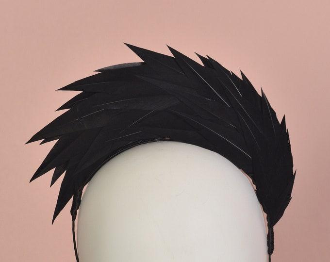 Black Spiked Feather Halo Headband