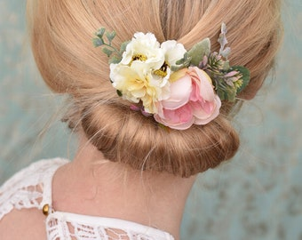 Ranunculus Flower Hair Clip in Pastel Pink and Ivory