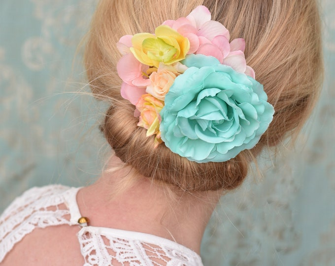 Pastel Mint Green and Pink Roses Flower Hair Clip Fascinator