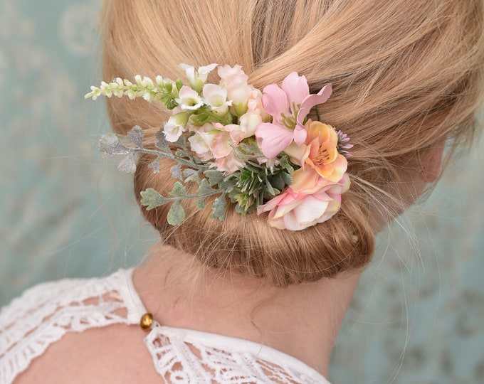 Blush Pink Blossom Flower Hair Clip