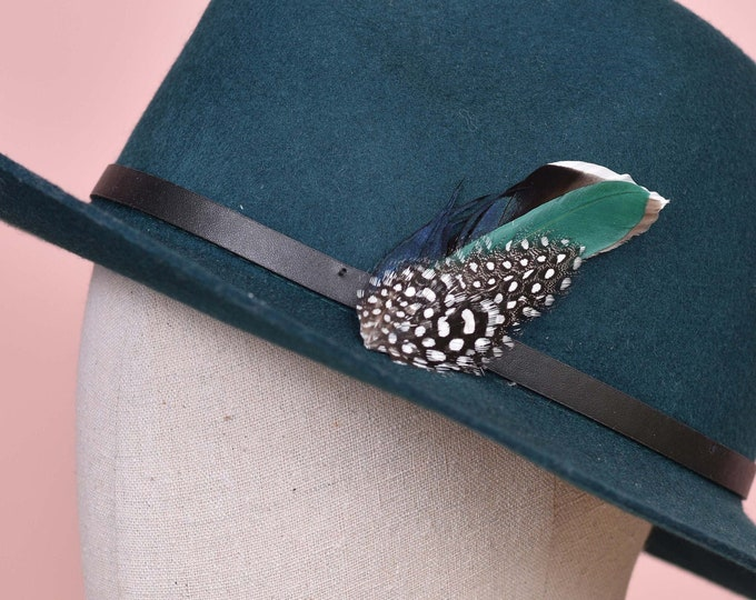 Navy Blue and Green Duck Feather Lapel Pin Small No.83