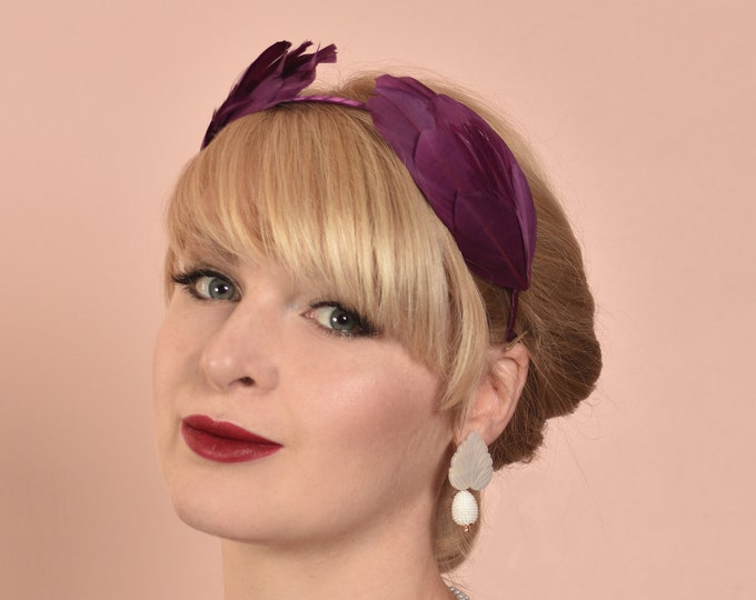 Plum Purple Double Wing Feather Halo Headband