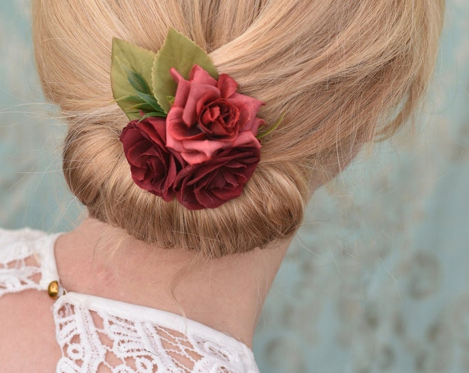 Silk Flower Hair Clip in Crimson Red Roses