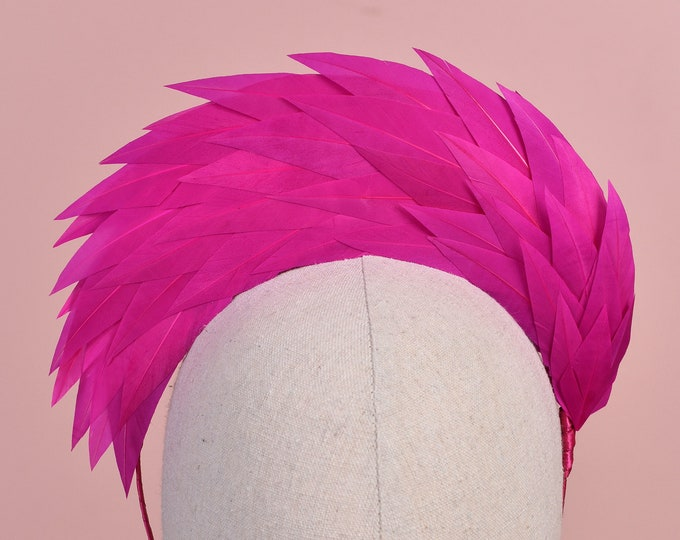 Fuchsia Pink Halo Feather Headpiece