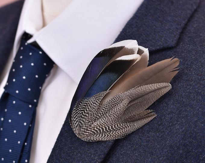 Navy Blue and Grey Mallard Duck Feather Lapel Pin Brooch No.16