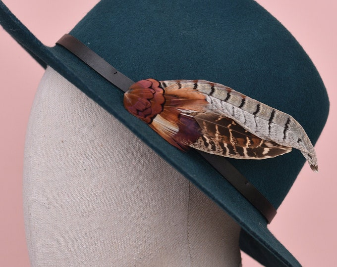 Natural Pheasant Feather Lapel Pin in Copper and Gold No.8