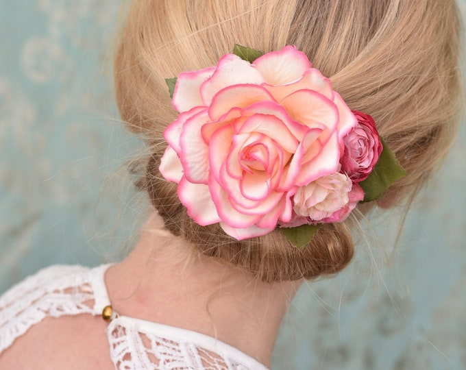 Pink and Peach Vintage Style Rose Flower Hair Clip