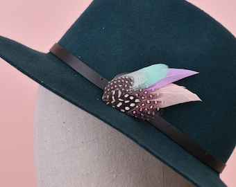 Small Blush Pink and Mint Feather Hat Pin with Spotted Guinea Fowl No.53