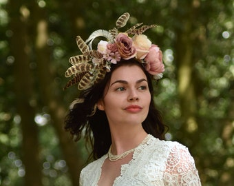Dusky Pink and Ivory Flower and Feather Headpiece