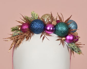 Festive Bauble Christmas Headband in Pink, Blue, Teal, Gold and Copper