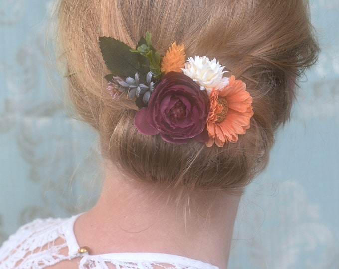 Orange, Plum and Ivory Flower Hair Clip