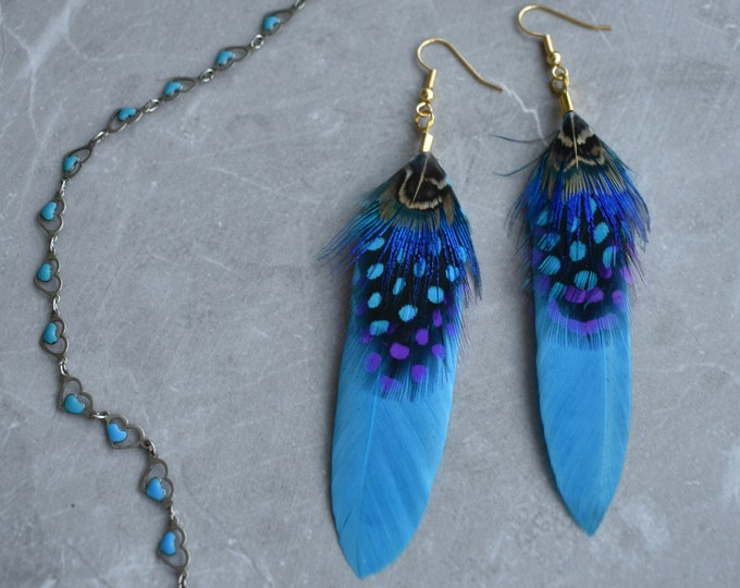 Turquoise Blue Feather Earrings