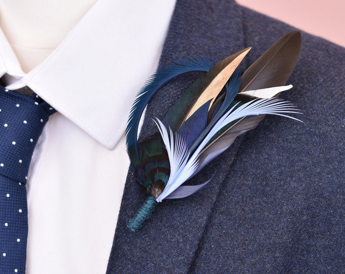 Blue and Gold Feather Lapel Pin No.94
