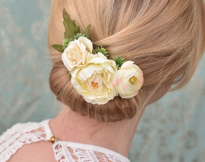 Silk Flower Hair Clip in Ivory Peony, Rose and Ranunculus