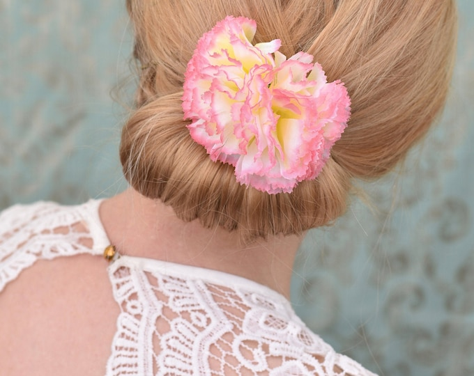 Pink Carnation Flower Hair Clip