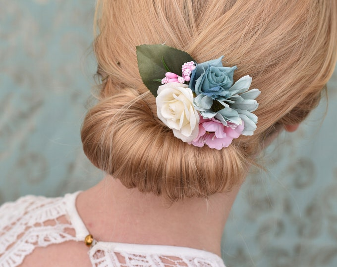 Silk Flower Hair Clip in Pastel Pink, Blue and Ivory