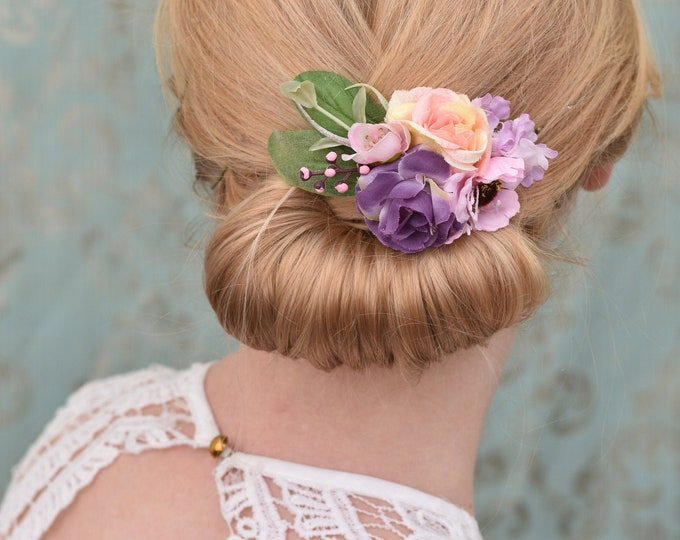 Silk Flower Hair Clip in Pastel Pink and Purple Roses and Anemones