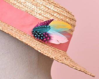Pink, Blue and Yellow Feather Hat Pin Small No.91