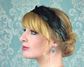 Black Feather Headband with Green Iridescence