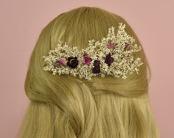 Dried Flower Hair Comb in Ivory and Red Rose Buds