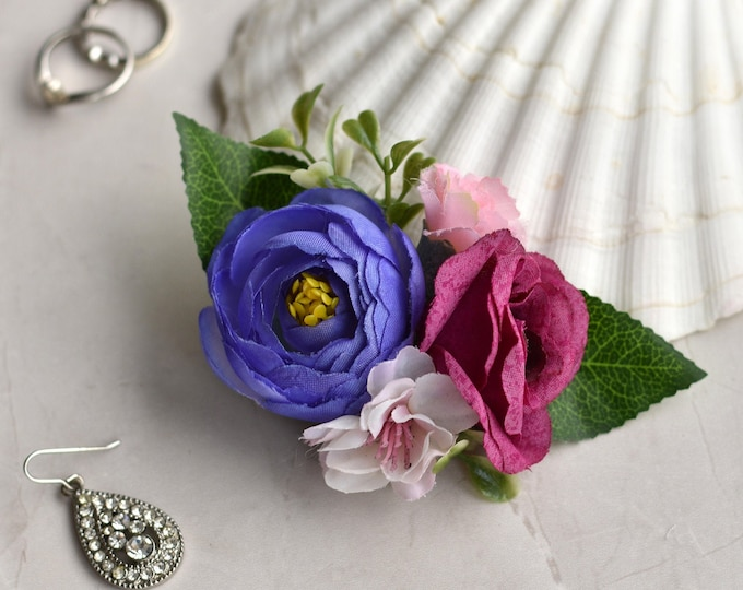 Silk Flower Hair Clip in Lilac Purple and Pink