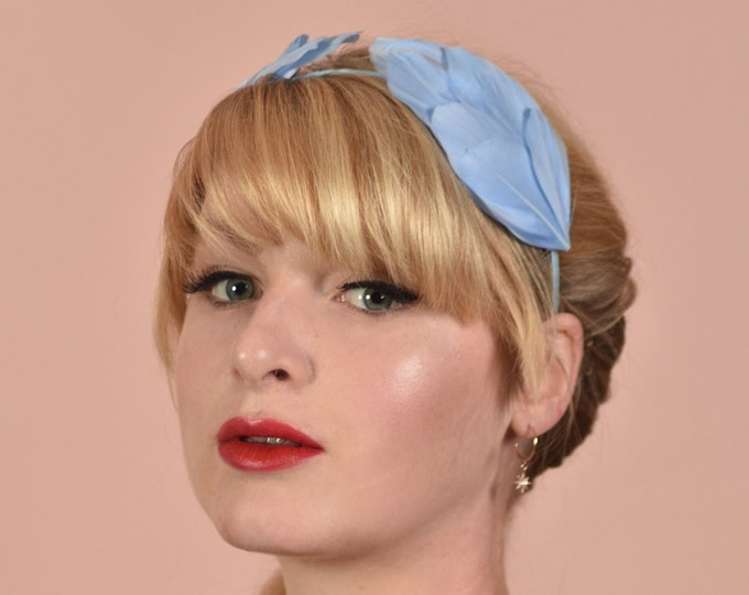 Pastel Blue Double Wing Feather Halo Headband