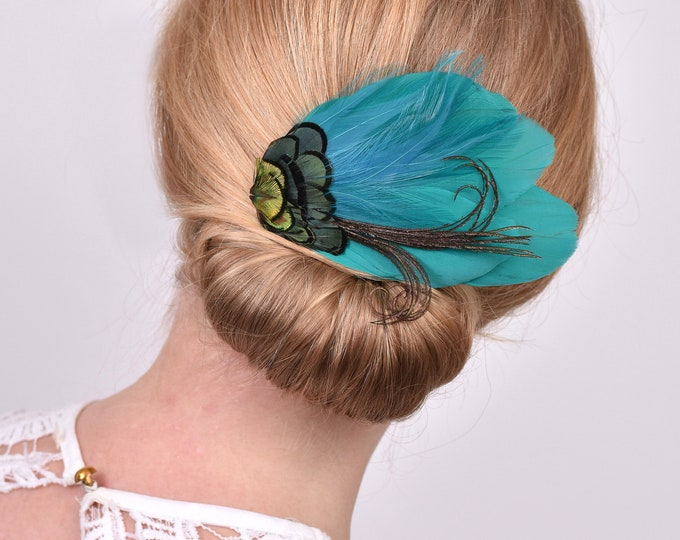 Peacock Feather Hair Clip Fascinator in Teal, Green and Gold