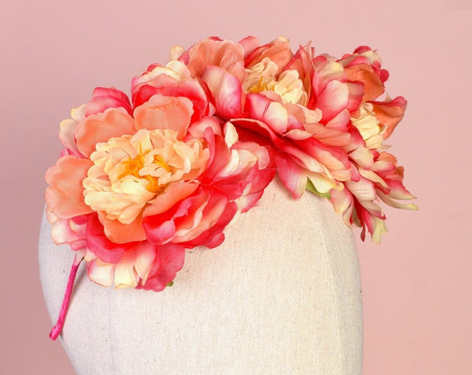 Pink Peony Flower Headband in Sunset Pink, White and Pink or Pastel Pink | Flower Crown | Flower Headpiece | Adult Flower Crown